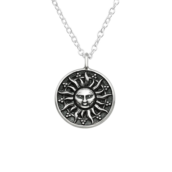Ethnic Engraved Sun Sterling Silver Necklace
