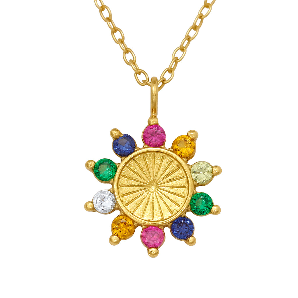 Gold Plated Rainbow Sun Crystal Sterling Silver Necklace