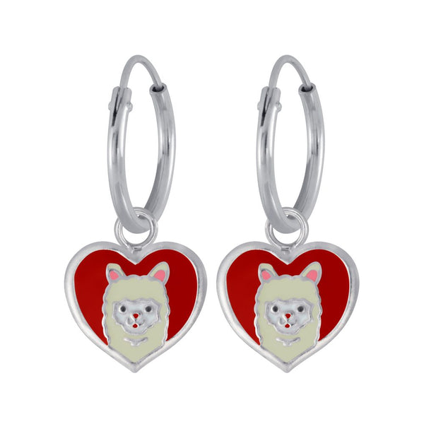 Girls Red Heart Llama Charm Sterling Silver Mini Hoop Earrings 12mm - I love silver jewellery