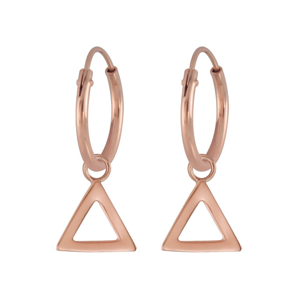 Rose Gold Plated Open Triangle Charm Sterling Silver Mini Hoop Earrings 12mm - I love silver jewellery