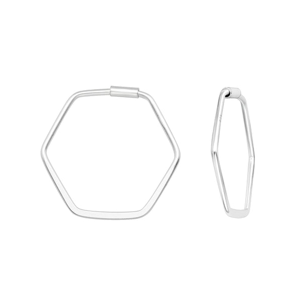 Hexagon Sterling Silver Hoop Earrings 22mm