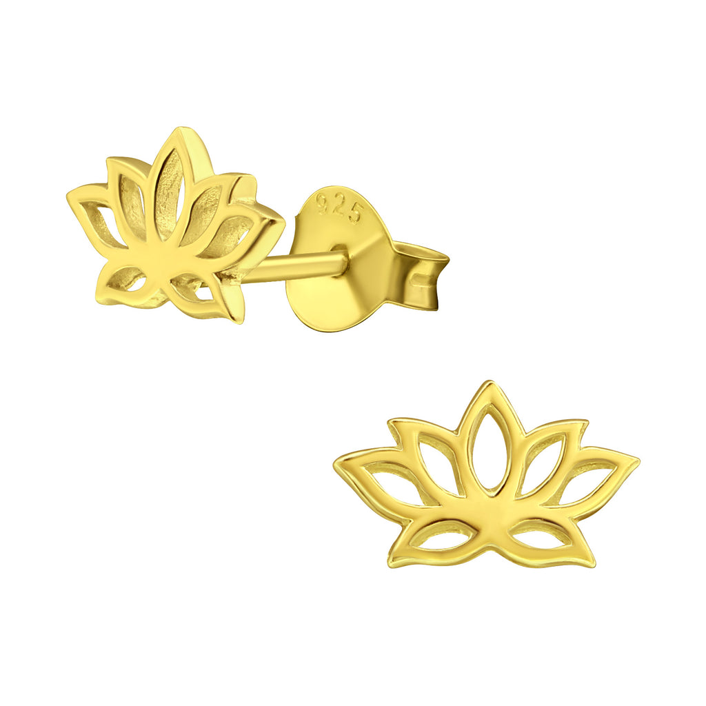 Gold Plated Lotus Flower Sterling Silver Cut Out Stud Earrings - I love silver jewellery