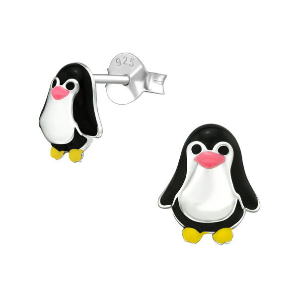 Black & Silver Penguin Sterling Silver Stud Earrings 8mm - I love silver jewellery