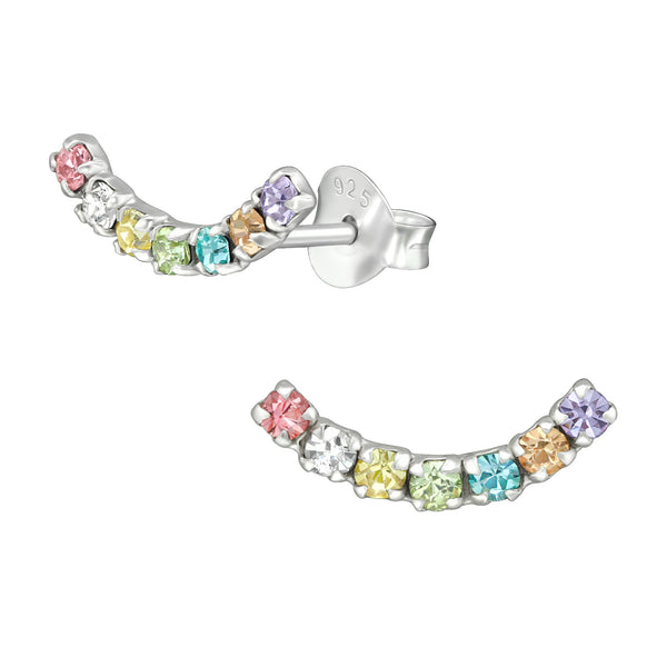 Rainbow Crystal Curve Sterling Silver Stud Earrings