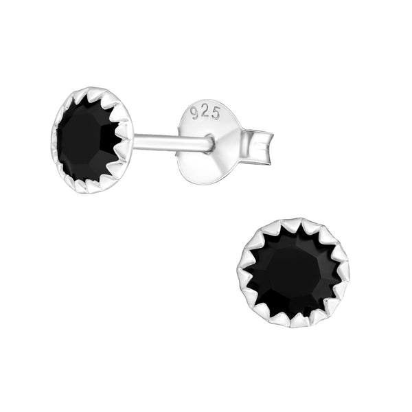 Crystal Crimped Sterling Silver Stud Earrings 6mm - I love silver jewellery
