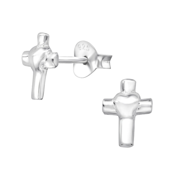 Heart Cross Sterling Silver Stud Earrings - I love silver jewellery
