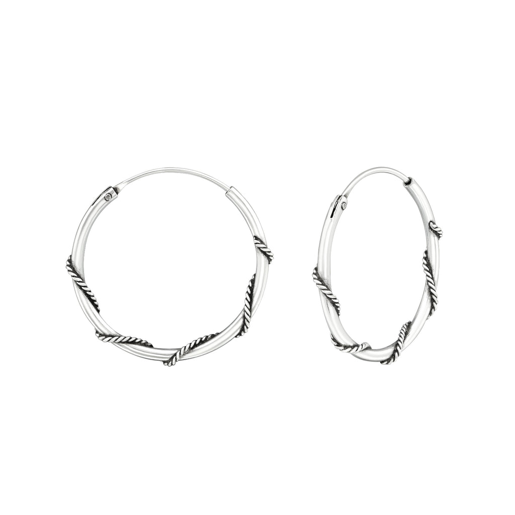 Vintage Twist Sterling Silver Bali Hoop Earrings 20mm - I love silver jewellery