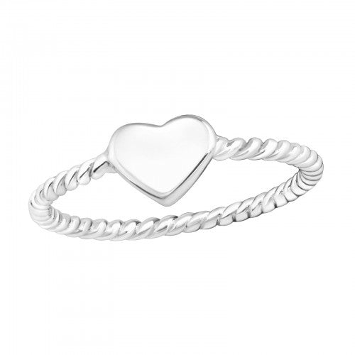 Simple Heart Sterling Silver Twisted Stacking Ring - I love silver jewellery