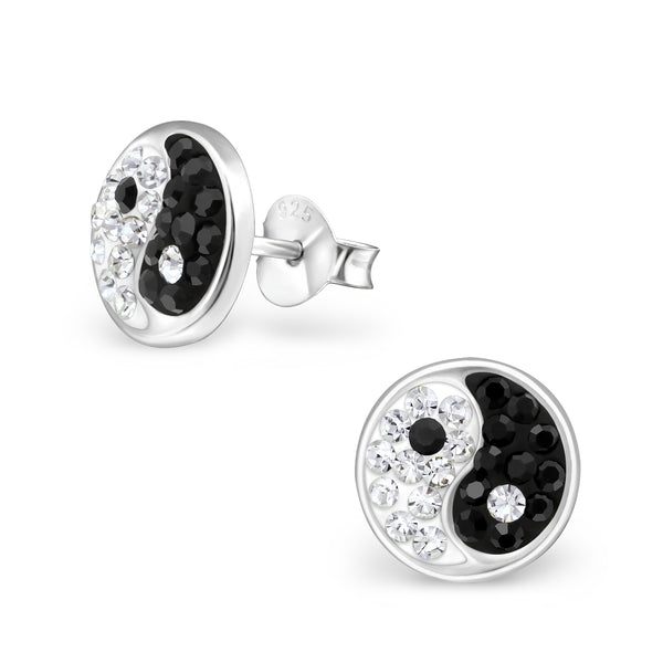Black & White Crystal Ying Yang Round Sterling Silver Stud Earrings - I love silver jewellery