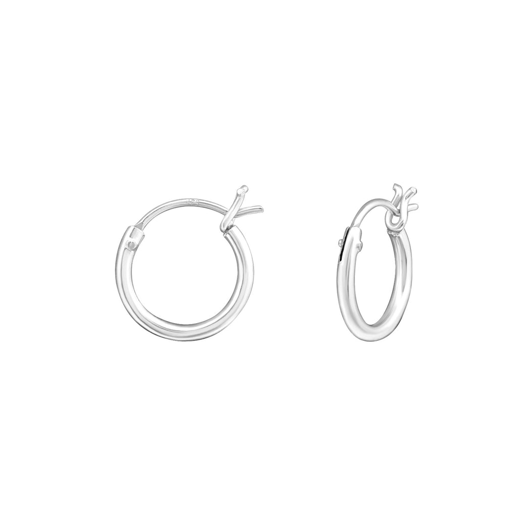 French Lock Sterling Silver Hoop Earrings - I love silver jewellery