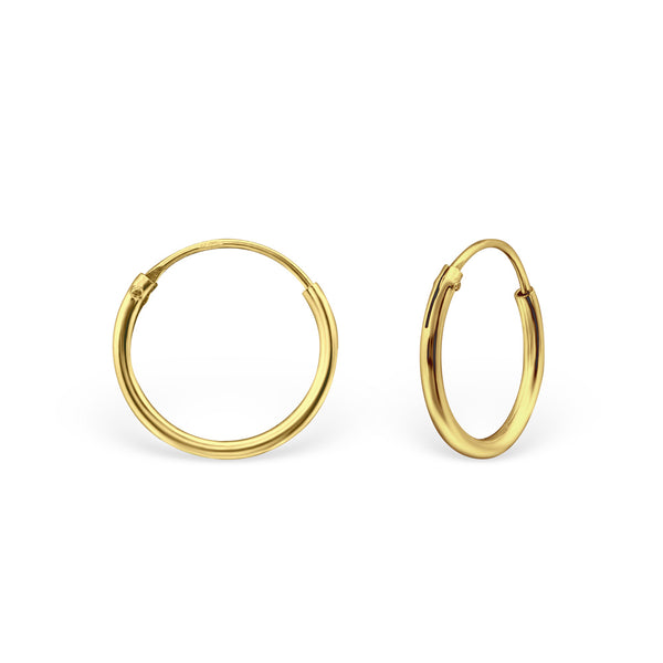 14ct Yellow Gold Plated Mini Hoop Sterling Silver Earrings 12MM - I love silver jewellery