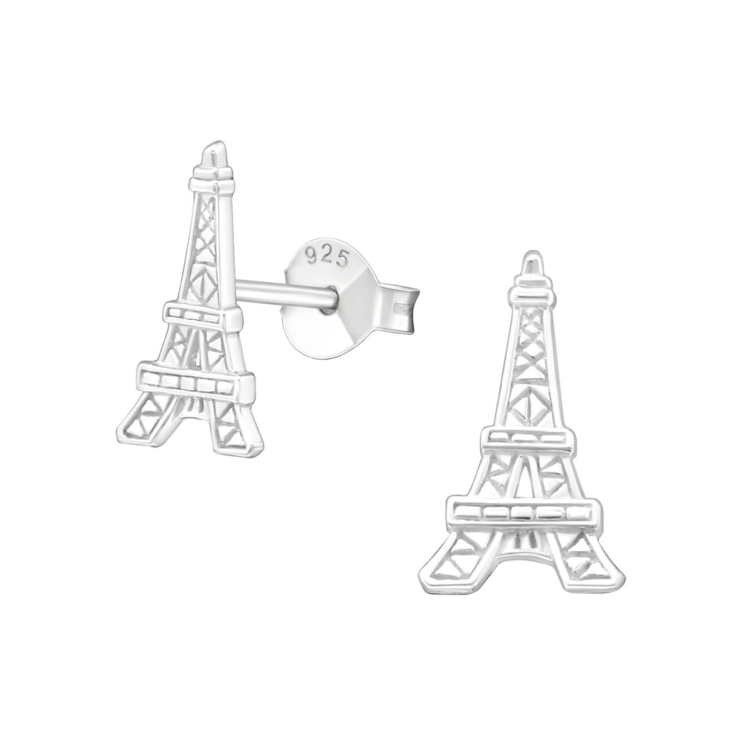 Paris Eiffel Tower Engraved Sterling Silver Stud Earrings - I love silver jewellery