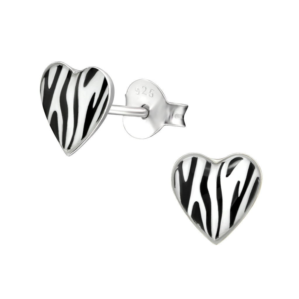 Black & white Zebra Print Heart Sterling Silver Stud Earrings - I love silver jewellery