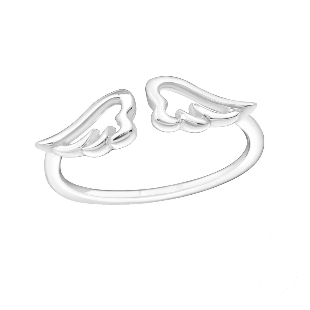 Angel Wing Midi Sterling Silver Adjustable Ring - I love silver jewellery - I love silver jewellery