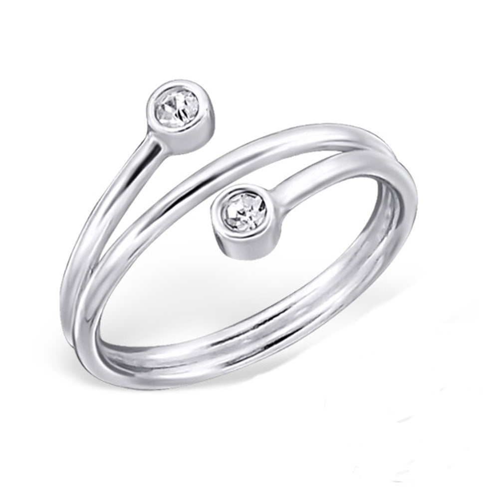 CZ Crystal Wrap Sterling Silver Midi Ring - I love silver jewellery