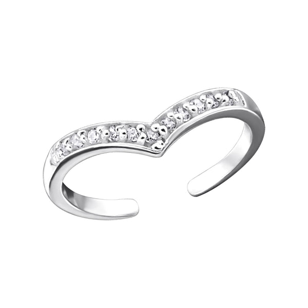 Wishbone Crystal Sterling Silver Toe Ring - I love silver jewellery