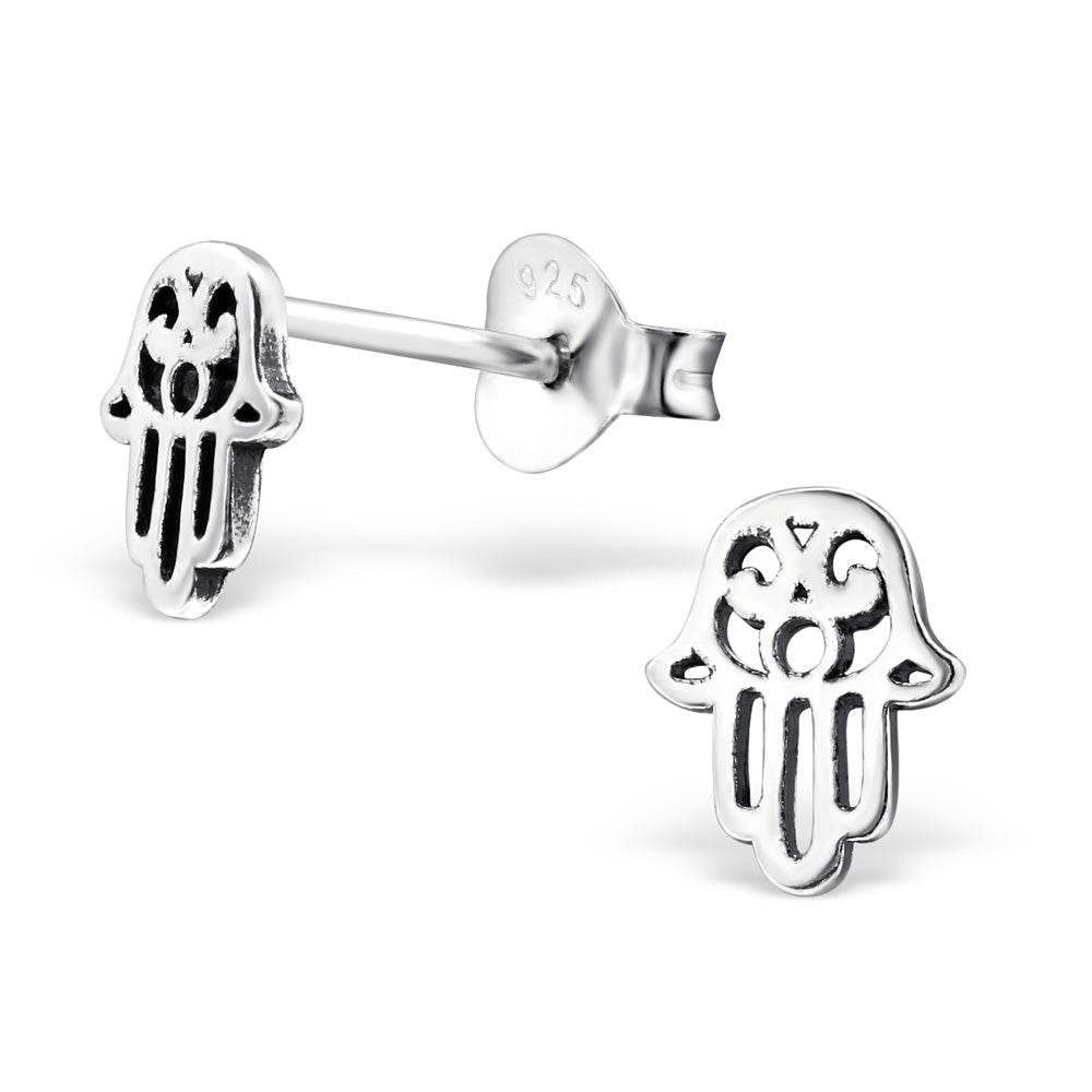 Hamsa Hand Sterling Silver Stud Earrings - I love silver jewellery