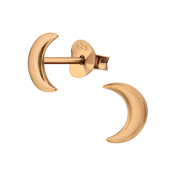 14ct Rose Gold Plated Moon Sterling Silver Stud Earrings - I love silver jewellery