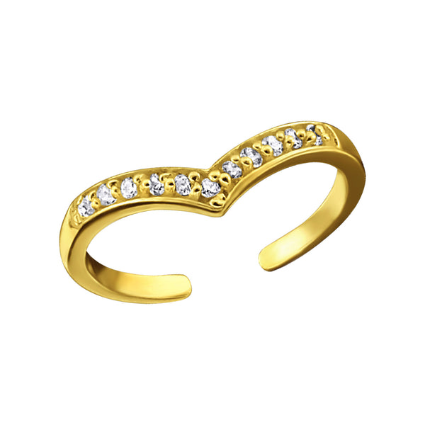 14ct Yellow Gold Plated Wishbone Crystal Sterling Silver Toe Ring - I love silver jewellery