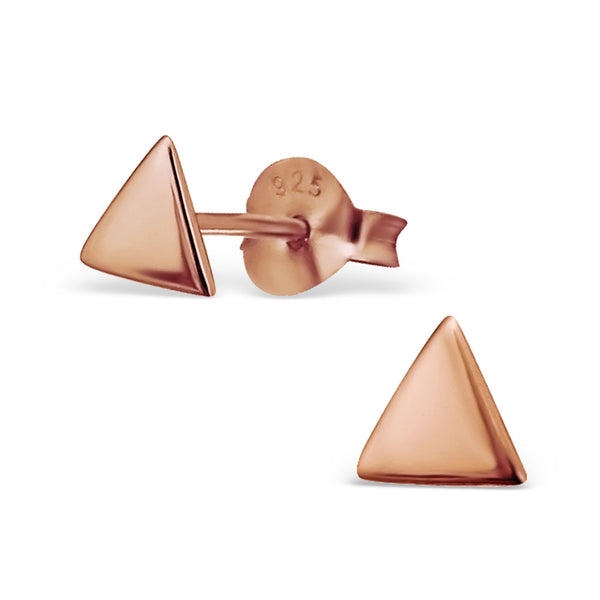 14ct Rose Gold Plated Solid Triangle Sterling Silver Stud Earrings - I love silver jewellery
