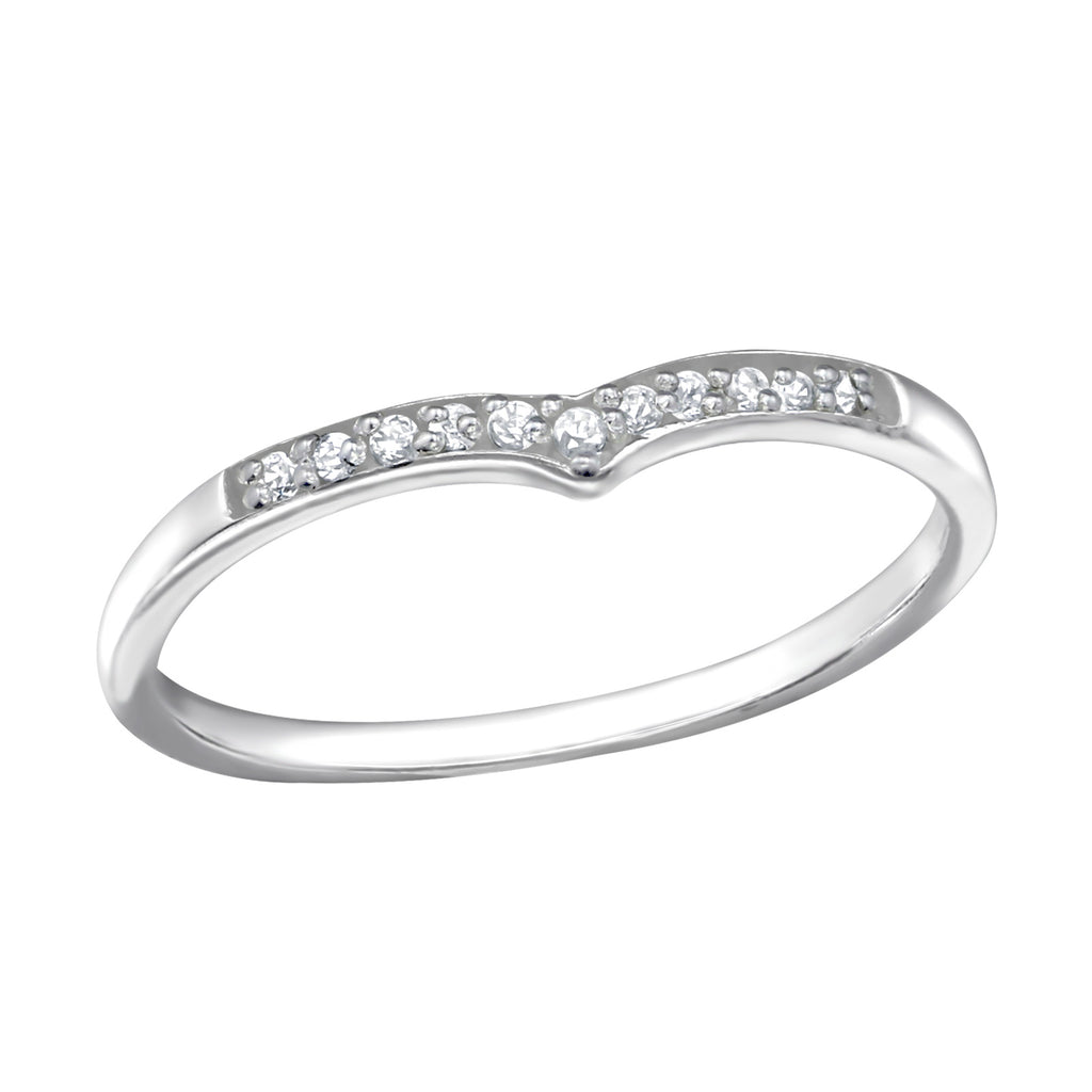 Wishbone Crystal Sterling Silver Ring 2mm - I love silver jewellery