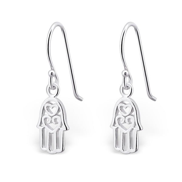 Hamsa Hand Cut Out Sterling Silver Drop Earrings - I love silver jewellery