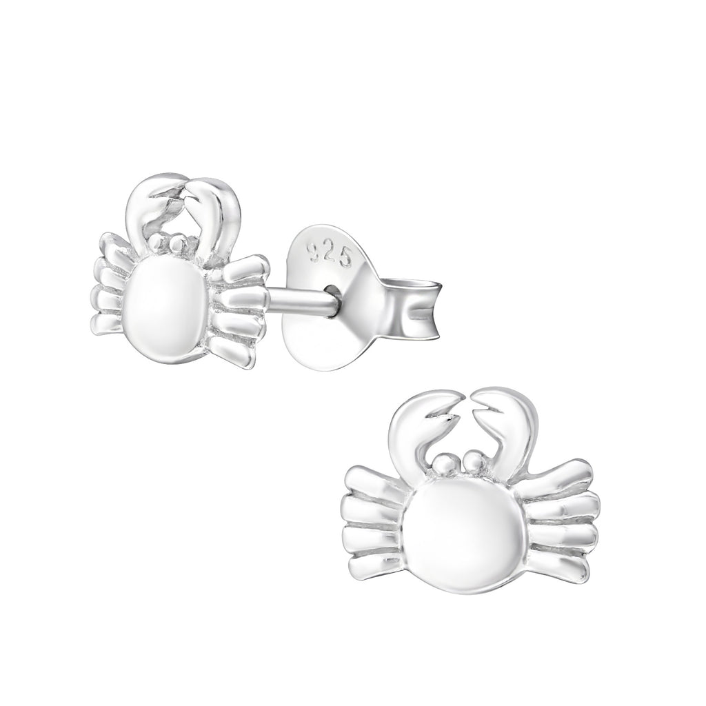 Crab Sterling Silver Stud Earrings 7mm - I love silver jewellery
