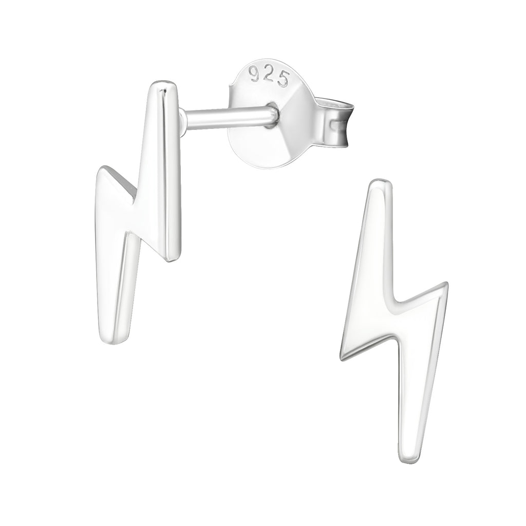 Lightning Bolt Sterling Silver Small Stud Earrings 11mm - I love silver jewellery