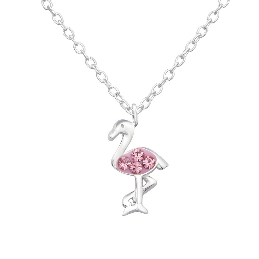 Light Pink Crystal Mini Flamingo Sterling Silver Necklace - I love silver jewellery
