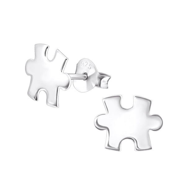 Jigsaw Sterling Silver Stud Earrings - I love silver jewellery