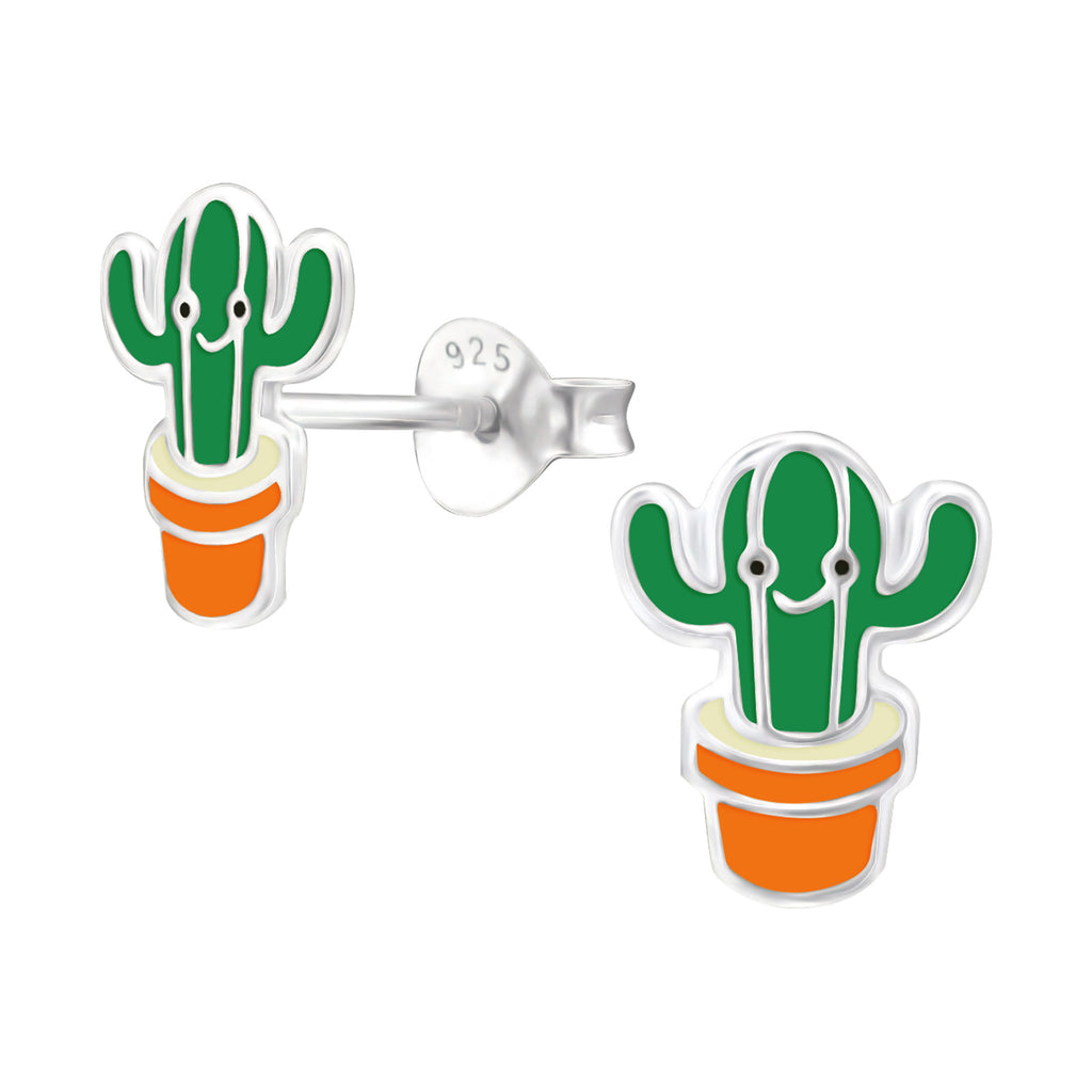 Green Cactus Sterling Silver Stud Earrings - I love silver jewellery