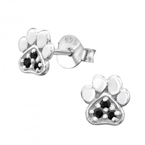 Black Crystal CZ Paw Print Sterling Silver Tiny Stud Earrings - I love silver jewellery