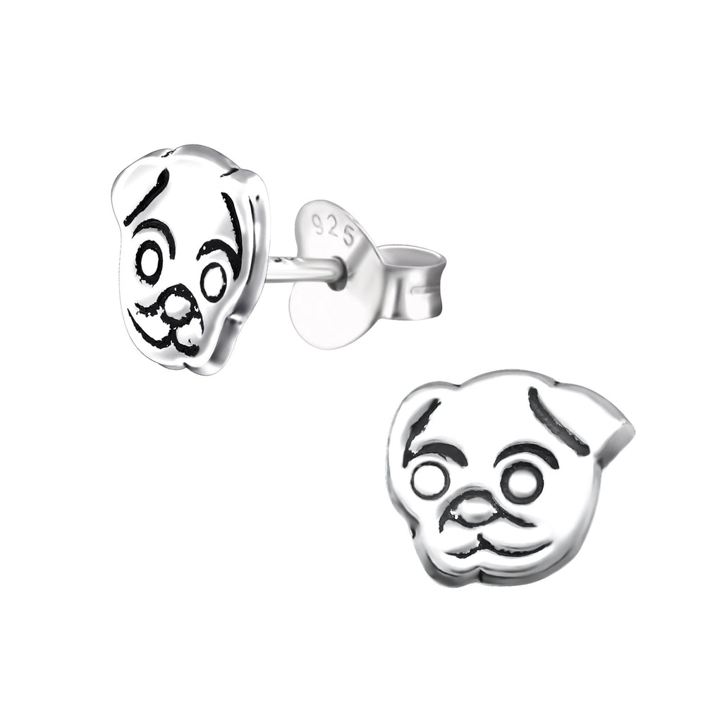 Pug Dog Sterling Silver Stud Earrings - I love silver jewellery