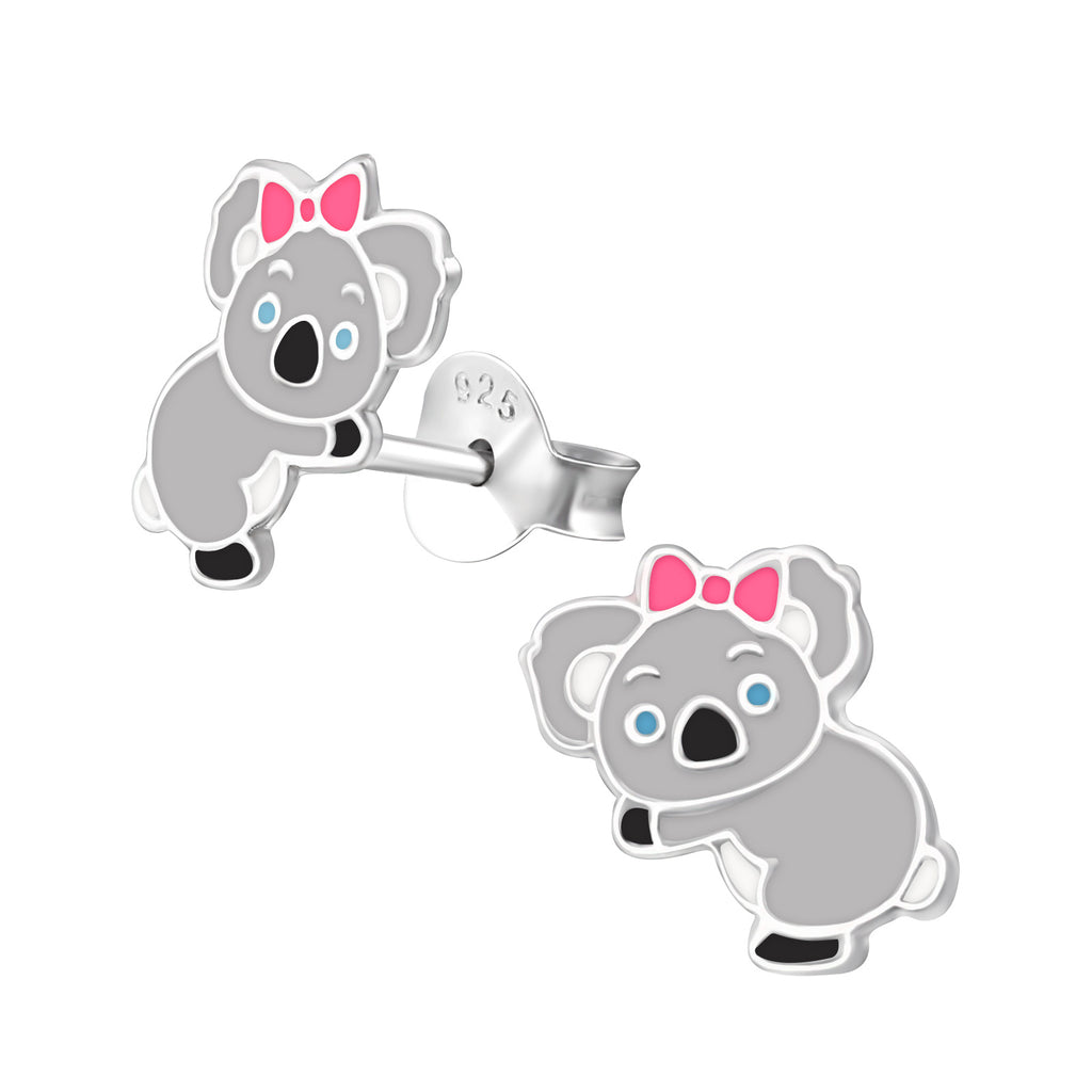 Girls Koala Bear Pink Bow Sterling Silver Stud Earrings - I love silver jewellery