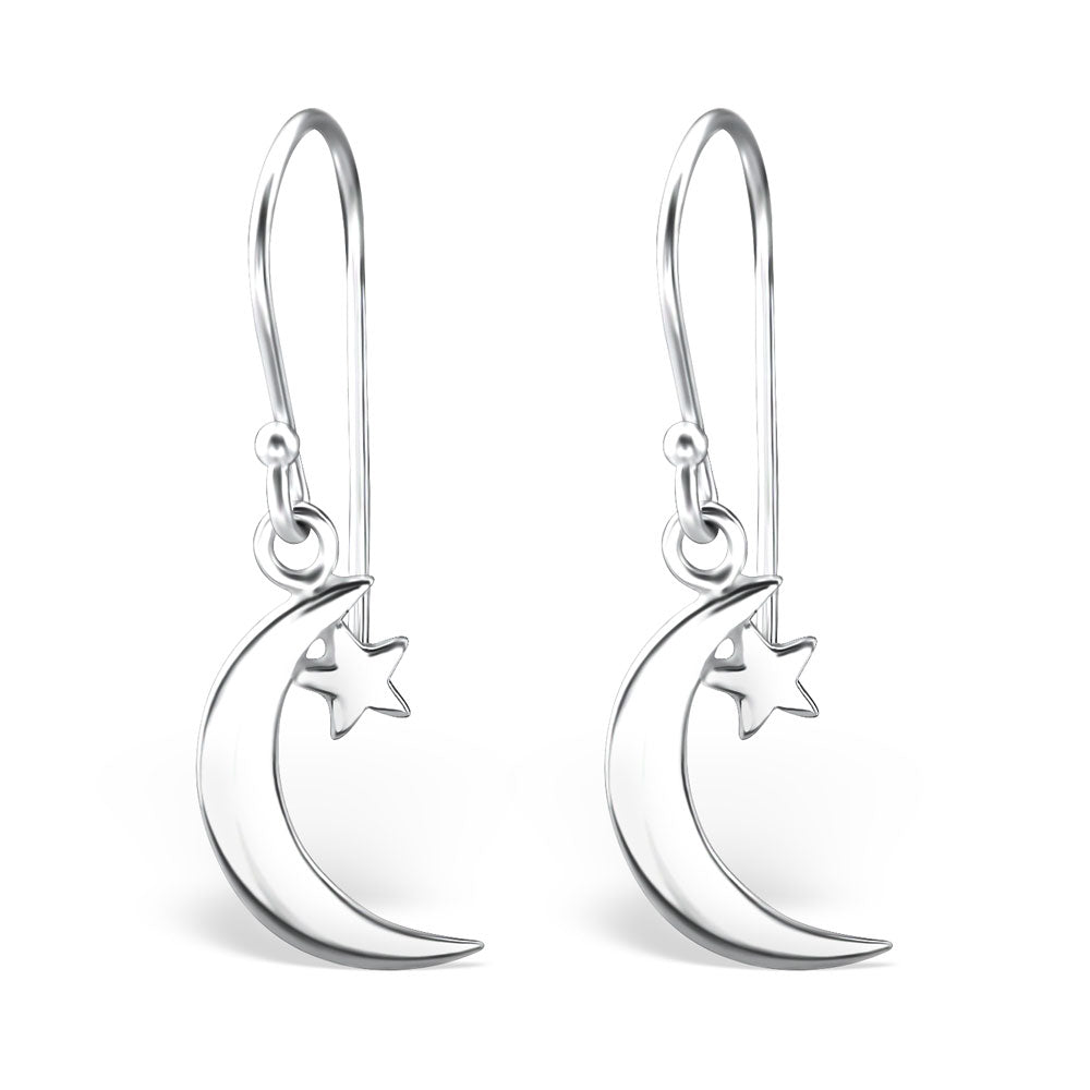 Moon & Star Sterling Silver Drop Earrings - I love silver jewellery