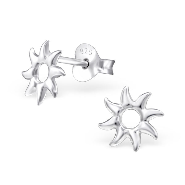 Sun Cut Out Sterling Silver Small Stud Earrings - I love silver jewellery