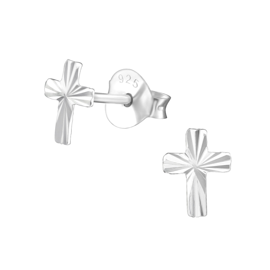 Diamond Cut Cross Sterling Silver Mini Stud Earrings 6mm - I love silver jewellery