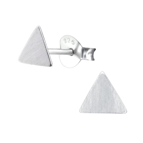 Triangle Brushed Sterling Silver Stud Earrings