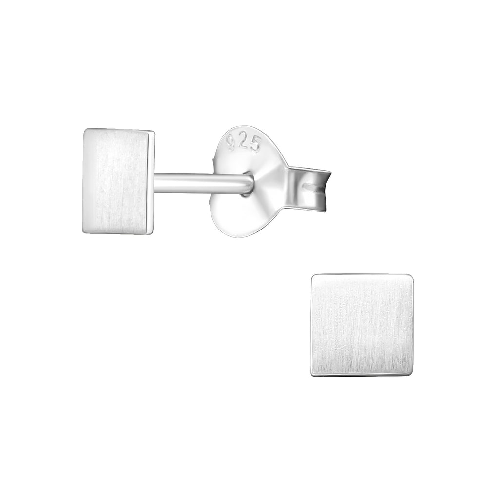 Brushed Square Sterling Silver Mini Stud Earrings 4mm - I love silver jewellery