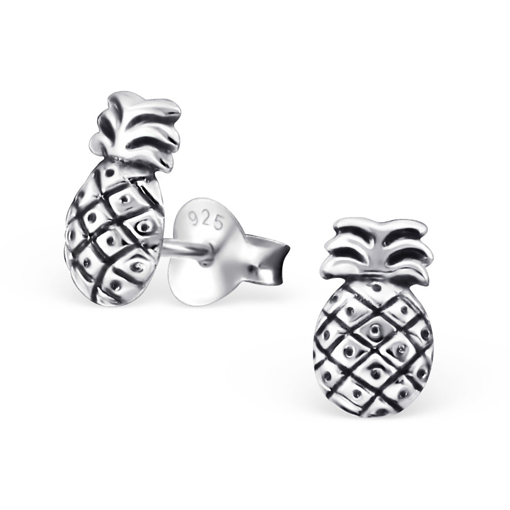 Vintage Pineapple Sterling Silver Stud Earrings - I love silver jewellery