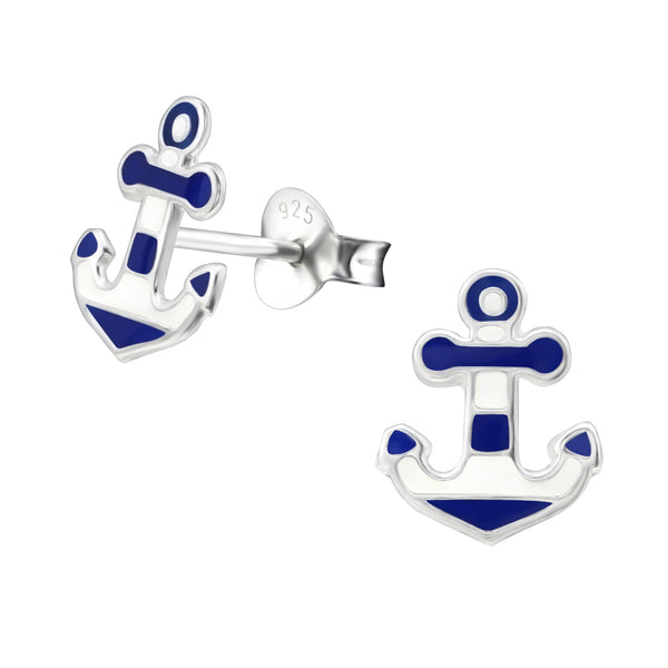 Anchor Stripe Nautical Sterling Silver Stud Earrings - I love silver jewellery