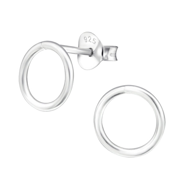 Circle Sterling Silver Stud Earrings 8mm - I love silver jewellery