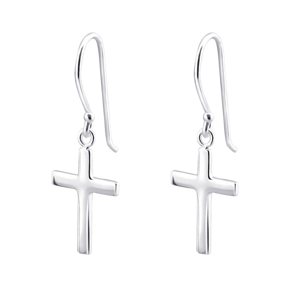 Cross Sterling Silver Drop Earrings - I love silver jewellery