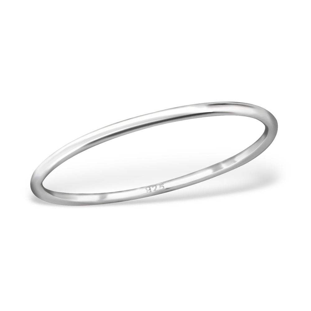 Simple Skinny Sterling Silver Band Ring 1mm - I love silver jewellery