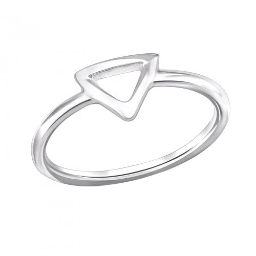 Geometric Triangle Sterling Silver Ring - I love silver jewellery