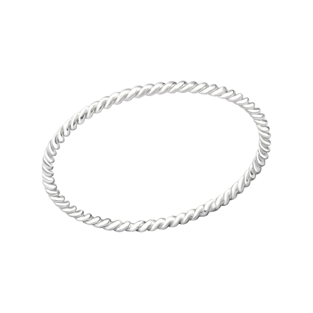Simple Skinny Twisted Sterling Silver Stacking Ring 0.9mm - I love silver jewellery