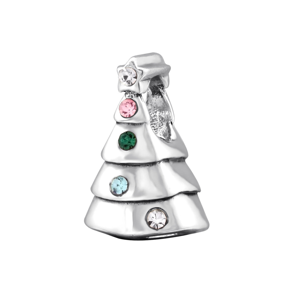Christmas Tree Multi Coloured Crystal Sterling Silver Slider Charm - I love silver jewellery