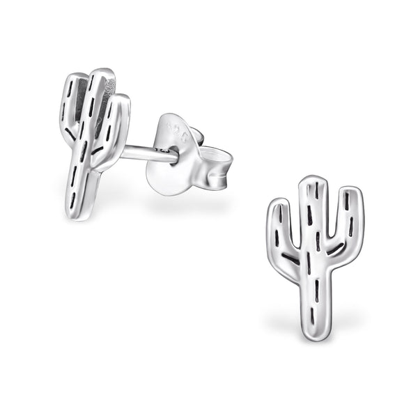 Cactus Engraved Sterling Silver Stud Earrings - I love silver jewellery