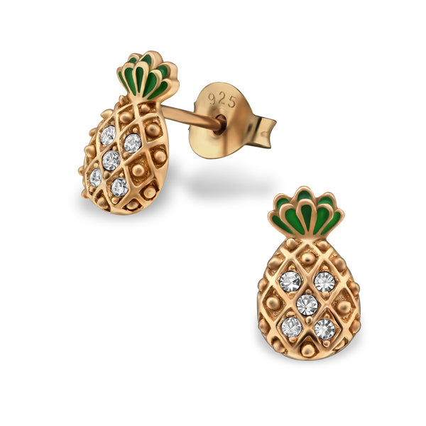 Rose Gold Plated Pineapple Crystal Sterling Silver Stud Earrings - I love silver jewellery