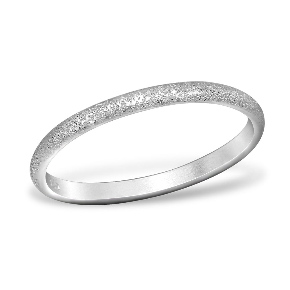 Matt Textured band Stacking Ring 2mm - I love silver jewellery